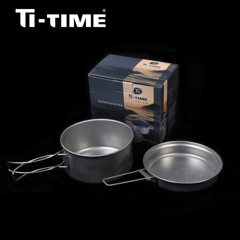 ФОТО Ti-time Titanium outdoor camping Cooking cookware Pot Pan Sets 2pcs For One Person lightweight durable stainless tent cutlery