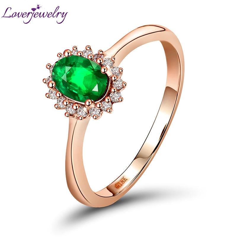 New Classical Design Engagement Diamond Emerald Ring 18Kt Rose