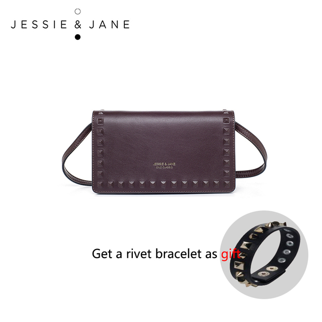 JESSIE & JANE Women's Fashion Rivet Design Split Leather Clutch, Mini Cross-body Bag 1339