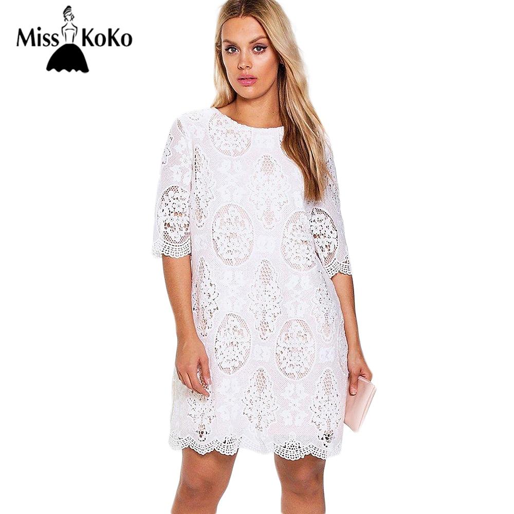 misskoko 2017 plus size women clothing fashion a line lace