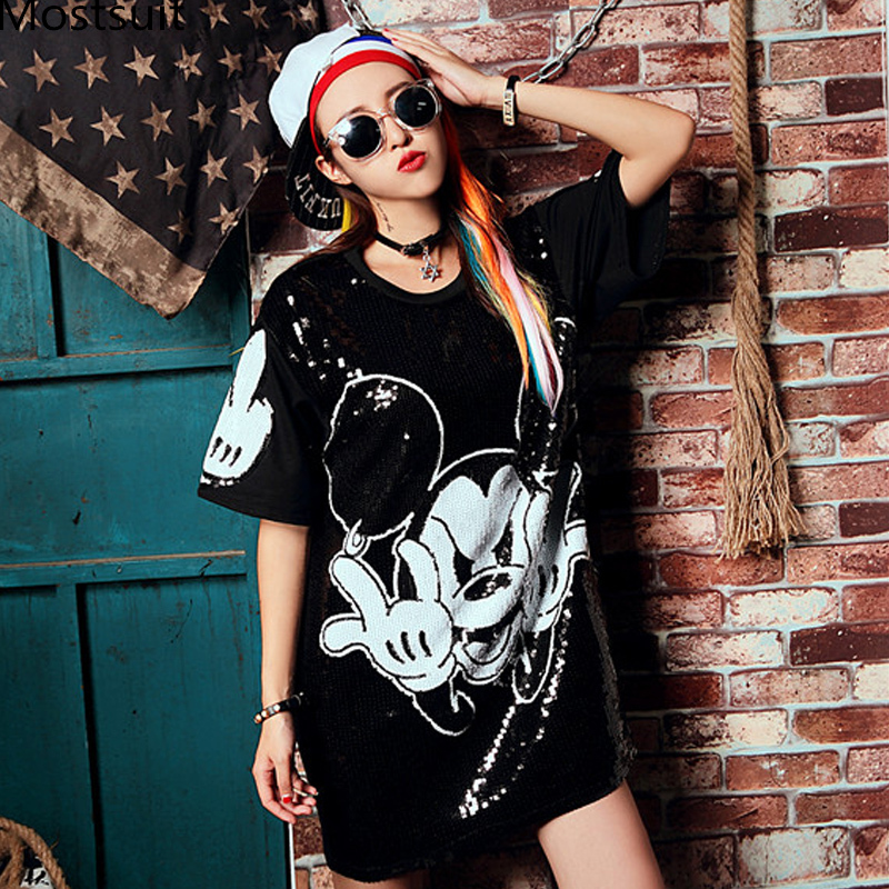 Euro Sequin Dress Women Summer 2019 Korean Girl sexy Loose Cartoon Mini Dresses Short Sleeve Vestidos Femme Party Dresses