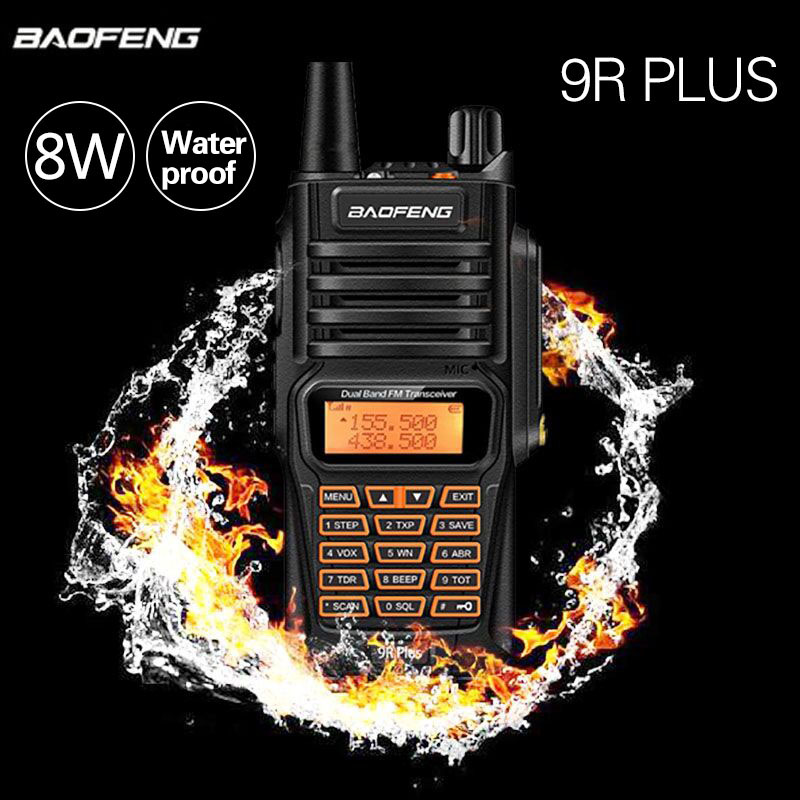 Baofeng UV-9R Plus 8W Power IP67 Waterproof Dustproof Walkie Talkie Two Way Radio Dual Band 10km Long Range BF UV 9R CB Radio