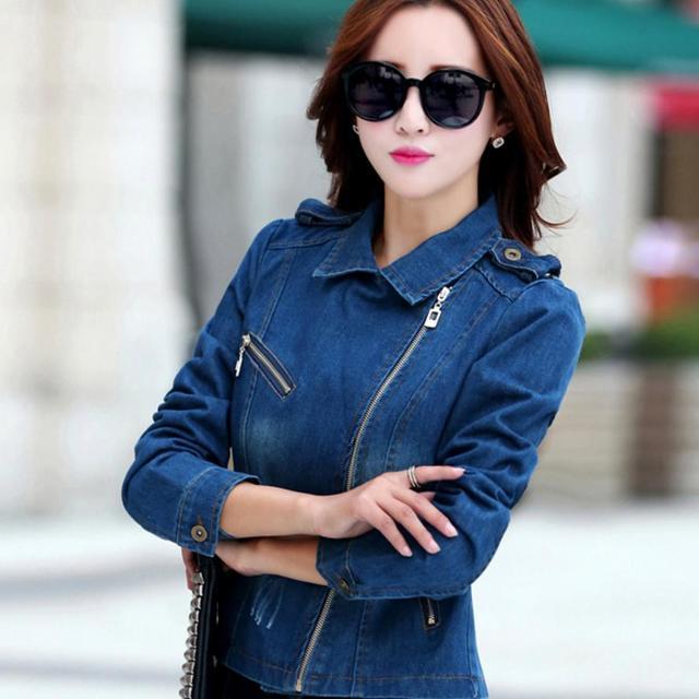 4f2e6570eaa new Women Denim Jacket Plus size zip Jackets Long-Sleeve Jeans Cardigan Coat