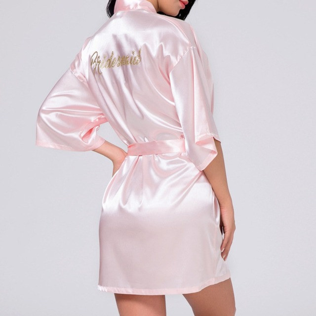 2018 Sexy Women Wedding Night Robe Bride Bridesmaid Rhinestone Letter Night Gown Bathrobe Dressing Gown
