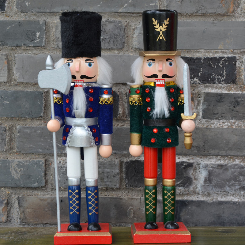 38cm 2017 New Europe Original Wood hand made The nutcrackers Santa Claus and Christmas Snowman Home decoration Crafts