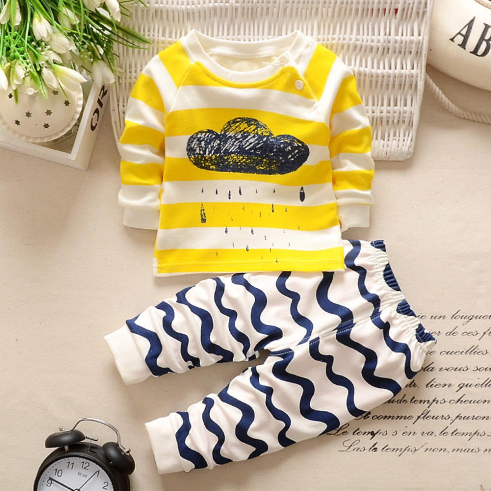 New Design Cute Newborn Infant Baby Boys Girls Cartoon Print Hoodie Tops Shirt+Pants Outfits Set Comfortable Touch High Quality