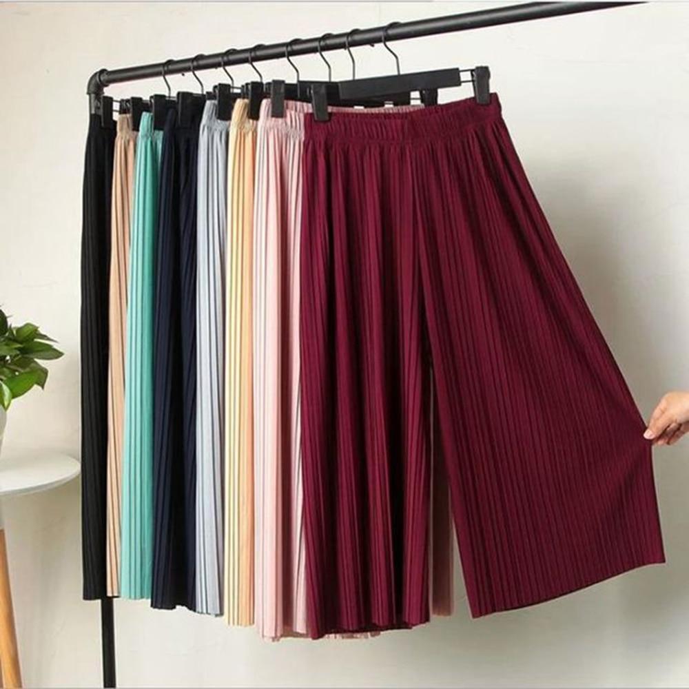 KLV 2019 Summer Spring New Fashion Tide Black Casual Loose Elastic Waist High Pleated Wide Leg Women Chiffon Loose Pants