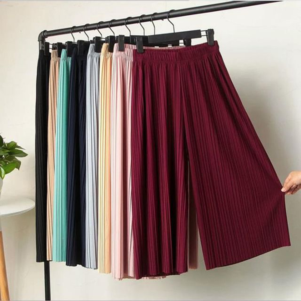 New Summer Spring New Fashion Tide Black Casual Loose Elastic Waist High Pleated Wide Leg Women Chiffon Loose Pants Wholesale