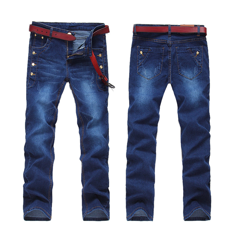 2017 Hot Sale Men Jeans Pants Casual Fashion Classical Blue Denim Jeans Men Slim Male Solid Straight Jeans men s cowboy jeans fashion blue jeans pant men plus sizes regular slim fit denim jean pants male high quality brand jeans