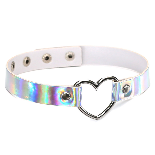 PU Leather choker necklace gift for women Holographic Choker Heart Metal Laser Collar Chocker fashion jewelry Colorful Leather