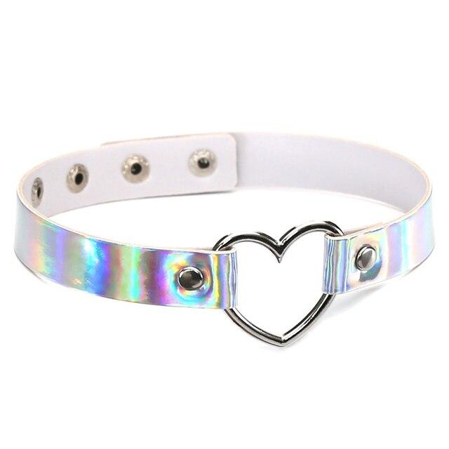 PU de Couro gargantilha colar presente para as mulheres Gargantilha Colar Chocker moda jóias Coração de Metal A Laser Holográfico Colorido Couro