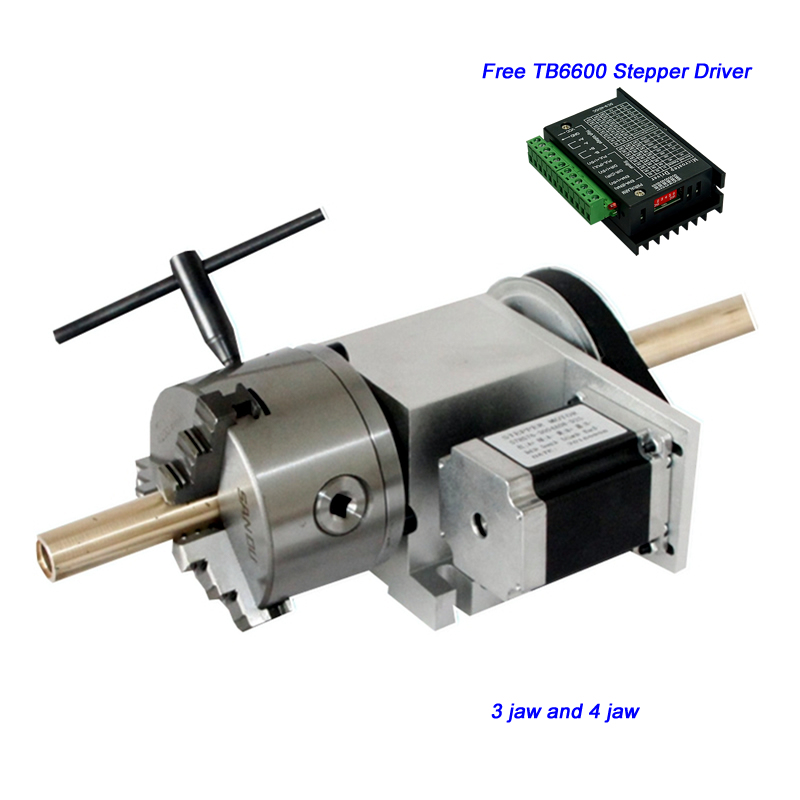 4 Jaw / 3 Jaw 100mm Chuck Hollow Shaft CNC 4th Axis Center height 65MM for CNC Router Engraving Machine