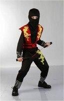 Novo 100-155 cm Ninja Fantasias para crianças meninos Fancy dress Cosplay Roupas Halloween decorações Do Partido desempenho Criança definir desgaste