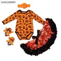 Yarasa Kafatası Kabak Fener Turuncu Bebek Cadılar Bayramı Kostüm Uzun Kollu Bodysuit Bandı Tutu Etek Beşik Ayakkabı Bebek Kız Giysileri