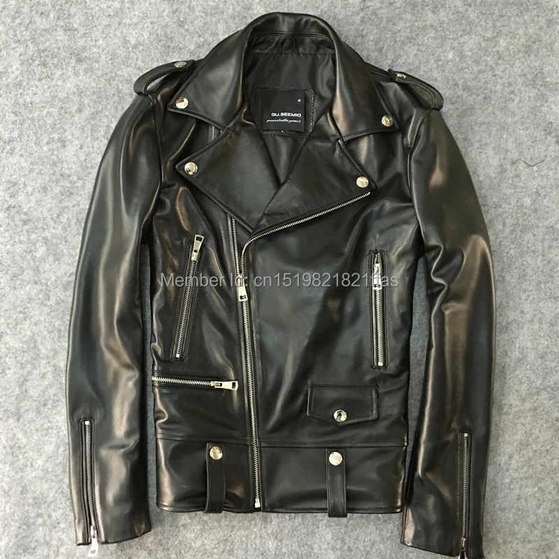 208d134fc29 Фабричная одежда из натуральной кожи мужской тонкий короткий дизайн  мотоциклетная куртка Верхняя одежда Мужская овечья кожа
