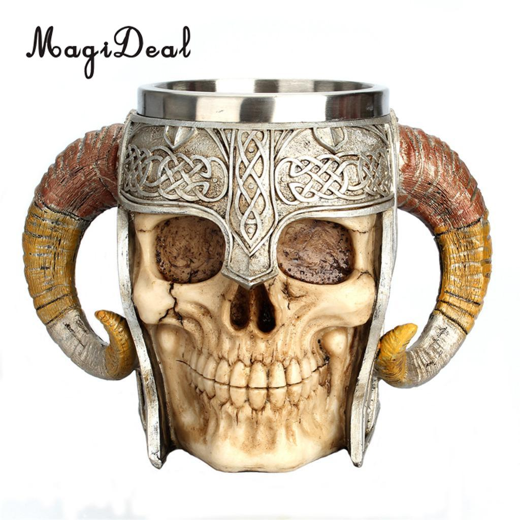 NEW 3D Stainless Steel Resin Skull Mugs Beer Coffee Cups,Home Decor,Viking Warrior Party Gift for Man,18oz/550ml