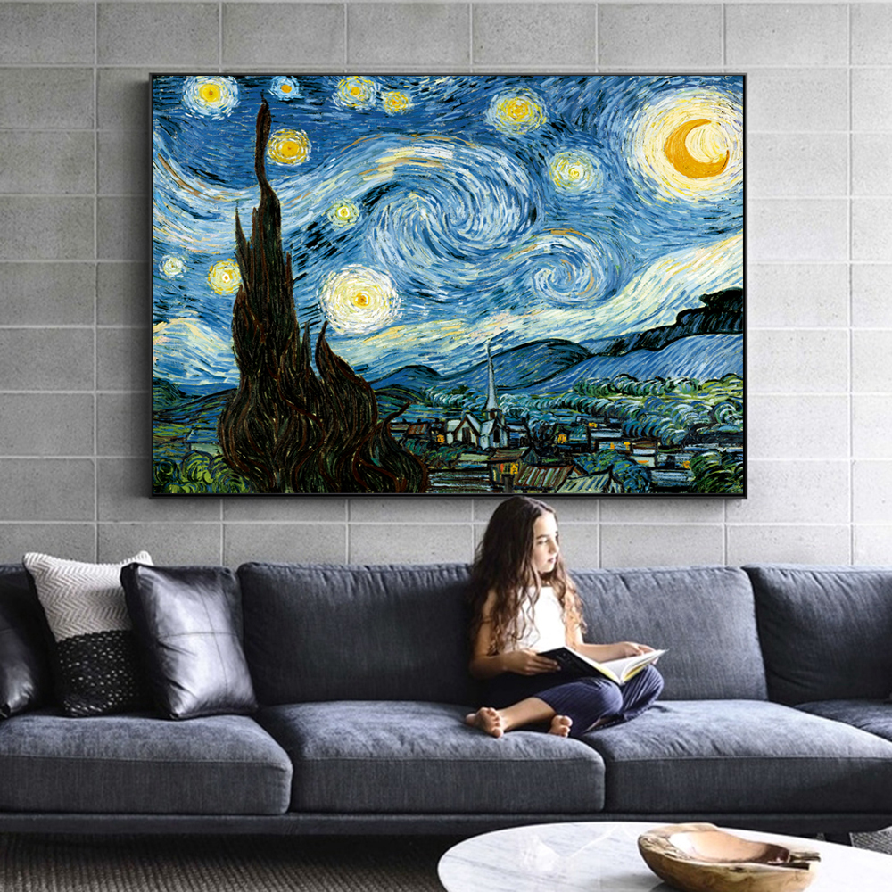 Van Gogh Starry Night Famous Wall Paintings Reproductions Impressionist Landscape Wall Art Canvas Prints Home Decor Cuadros