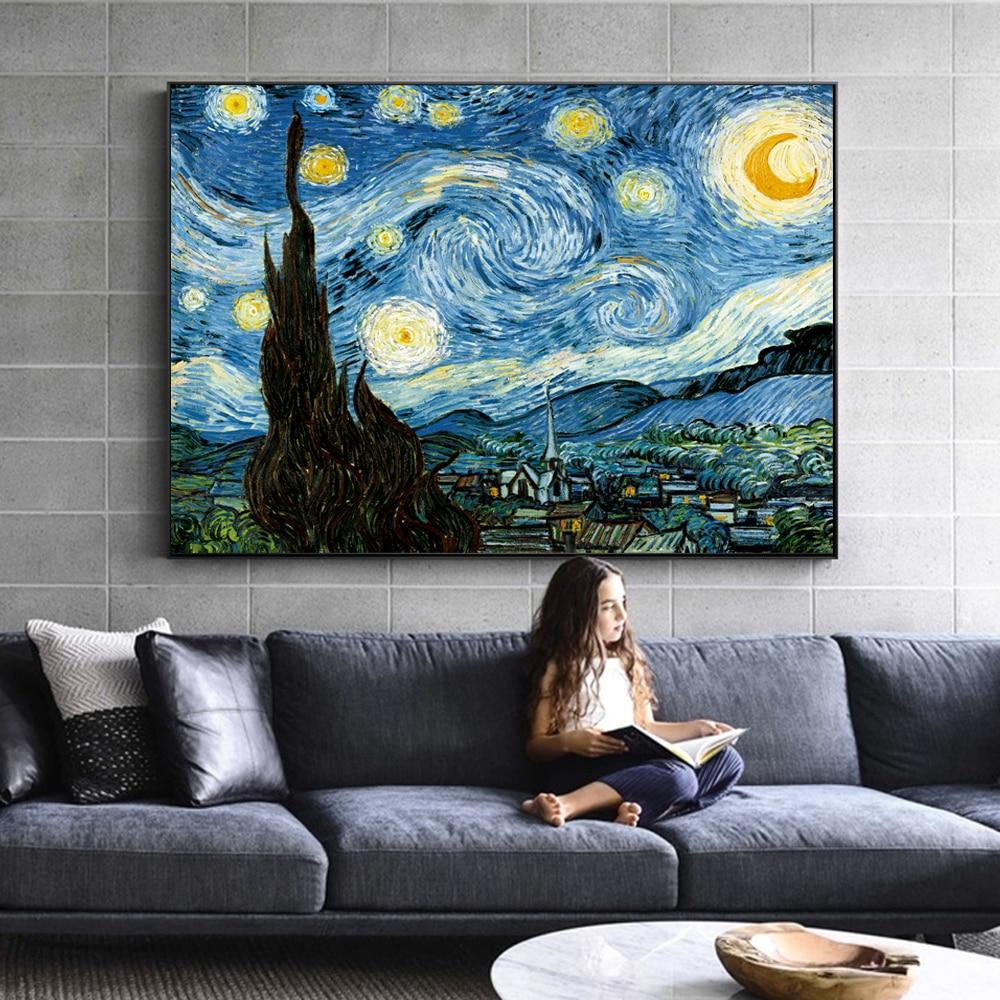 Van Gogh yıldızlı gece ünlü duvar resimleri reprodüksiyon empresyonist manzara duvar sanat tuval baskılar ev dekor Cuadros