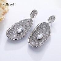6.2 cm Very big leaf Earrings Pretty Wedding Jewelry White crystal Female Party Jewellery Big Drop Earring for Bridal