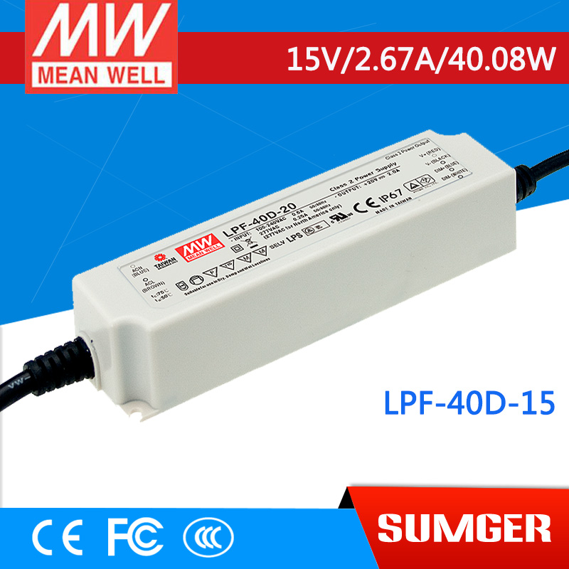 1MEAN WELL original LPF-40D-15 15V 2.67A meanwell LPF-40D 15V 40.08W Single Output LED Switching Power Supply [mean well] original lpf 60d 30 30v 2a meanwell lpf 60d 30v 60w single output led switching power supply