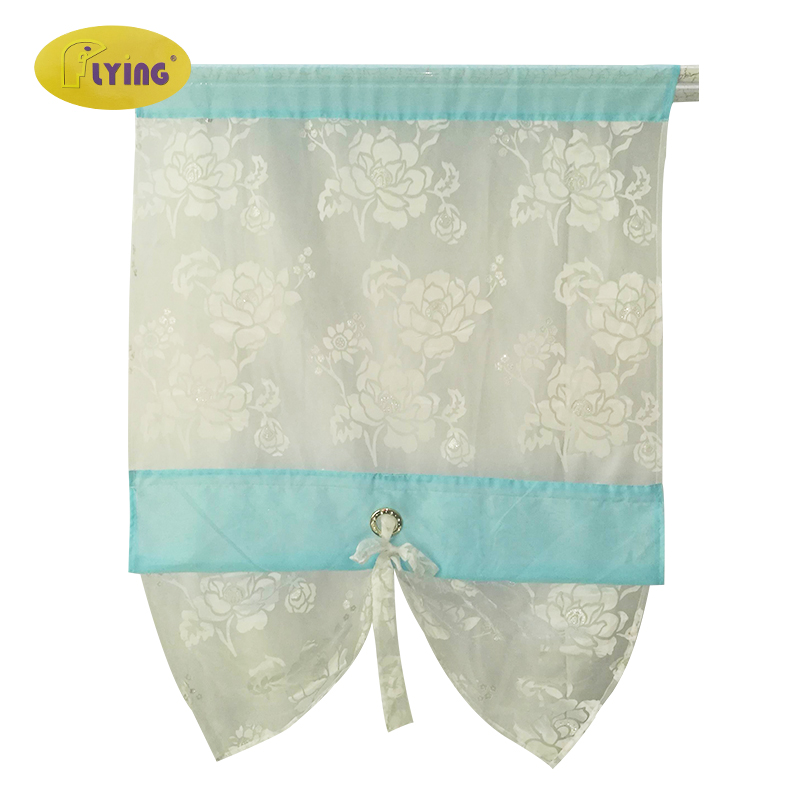 Flying Kitchen Curtains Tulle Pastoral Flower Printed Voile Blue Curtain White Rope Cornice Shade for Bedroom Door Right Light