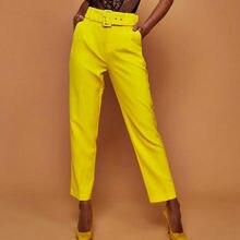 Automne Taille Haute Ceinture Casual Pantalon Femmes De Mode Droite Poches  Office Lady Femmes Pantalon Streetwear 6d6c95e93d9