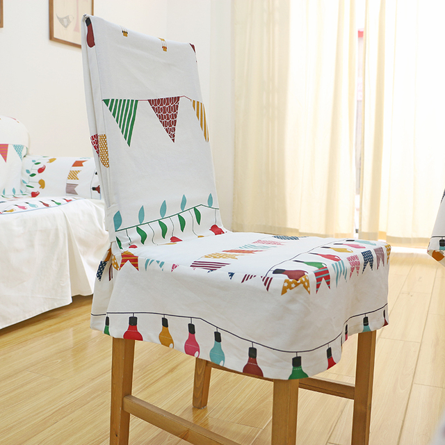 Small Flags Cotton Fabric Dining Table Chair Cover Chair Cloth Customize  Chair Sets White Cartoon Festival