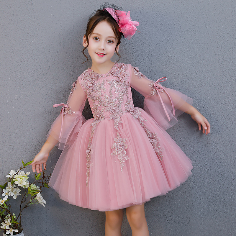 2018 New Korean Sweet Autumn Summer Children Baby Birthday Wedding Party Prom Dress Kids Girls Pink Color Flowers Pageant Dress 2018 new korean sweet autumn summer children baby birthday wedding party prom dress kids girls pink color flowers pageant dress