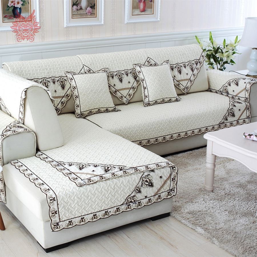 European Style Cotton Quilted Sofa Cover Chair Slipcovers