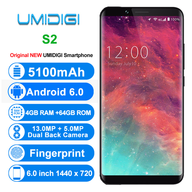 Original UMIDIGI S2 4G Mobile Phones Android 6.0 4GB+64GB Octa Core Smartphone 6.0 inch Full Screen Dual Back Cameras Cell Phone