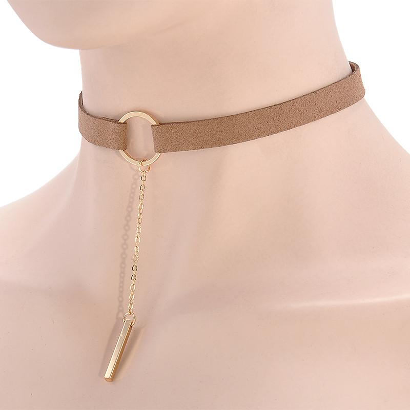 HTB1oVnhOXXXXXc9XFXXq6xXFXXXo Punk Leather Collar Necklace With Geometric Pendant