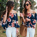 2016 Fashion New Women Sexy Flare Sleeve T-Shirt Casual Summer Long Sleeve Flower Elegant T-Shirt