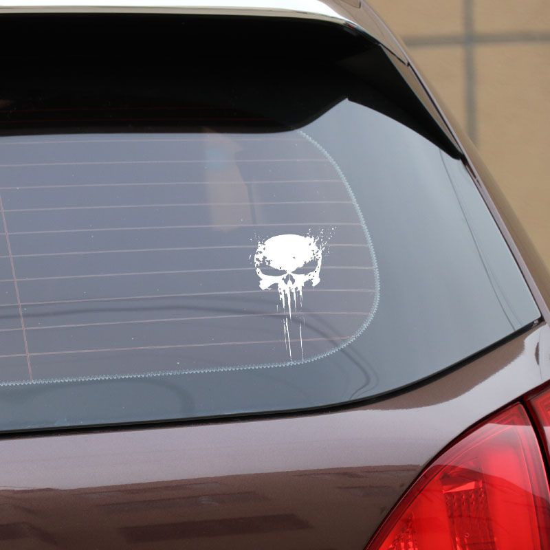10CMX15CM PUNISHER Skull BLOOD Vinyl Car Decals Stickers Motorcycles Decoration Black/Silver C1-3140 3