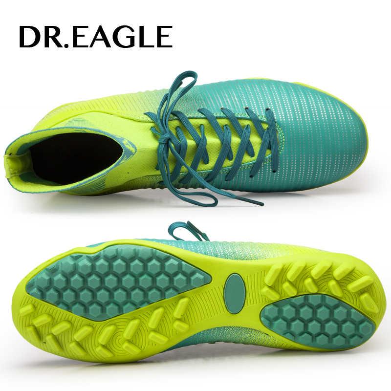 DR. EAGLE indoor turf/TF stijgijzers hoge enkel futsal voetbalschoenen sneakers voetbal schoenen kinderen schoen schoenplaten jongens schoenen mannen sok