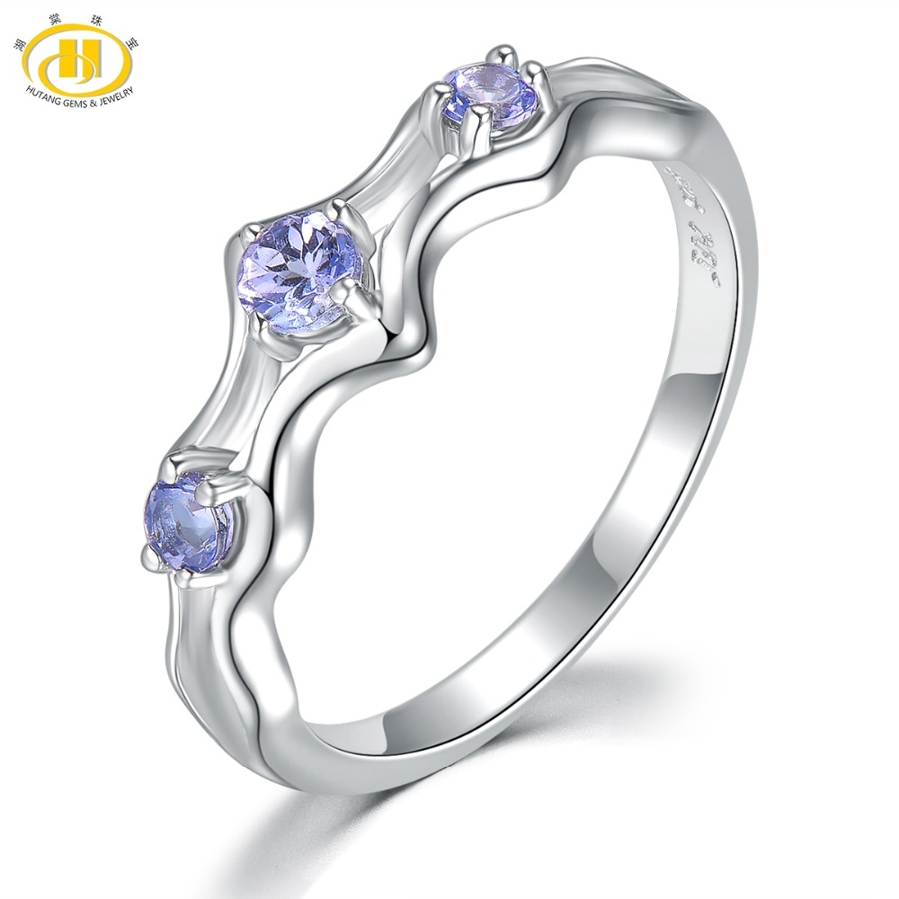 Hutang Natural Gemstone Tanzanite Wedding Ring Solid 925 Sterling Silver Fine Fashion Stone Jewelry for Women's Gift New Arrival