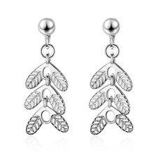 New Trendy Leaf Women Gift 925 Sterling Silver Ladies Tassel Stud Earrings Original Jewelry Anti Allergy Drop Shipping