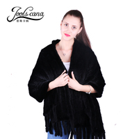 Joolscana mink fur shawl women scarf wide 55*170cm cloak poncho With pocket real mink fur knitted new brand fashion luxurious