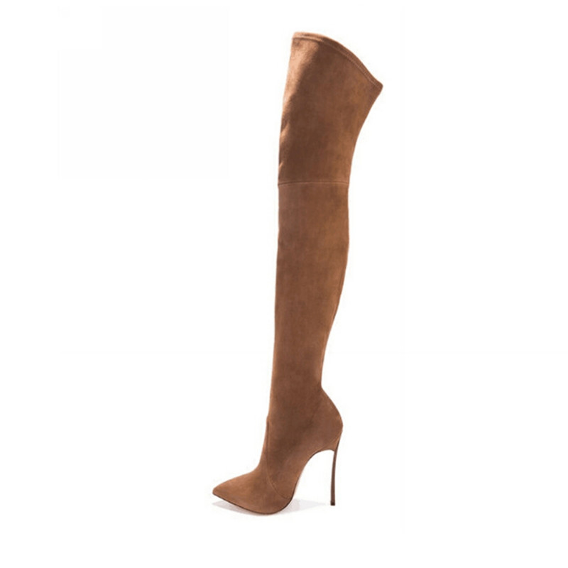 Autumn Winter Women Boots Stretch Faux Suede Slim Thigh High Boots Fashion Sexy Over the Knee Boots High Heels Shoes Woman 35-43 fashion snake printed thigh high boots med heels slip on over the knee boots autumn winter party banquet prom shoes woman