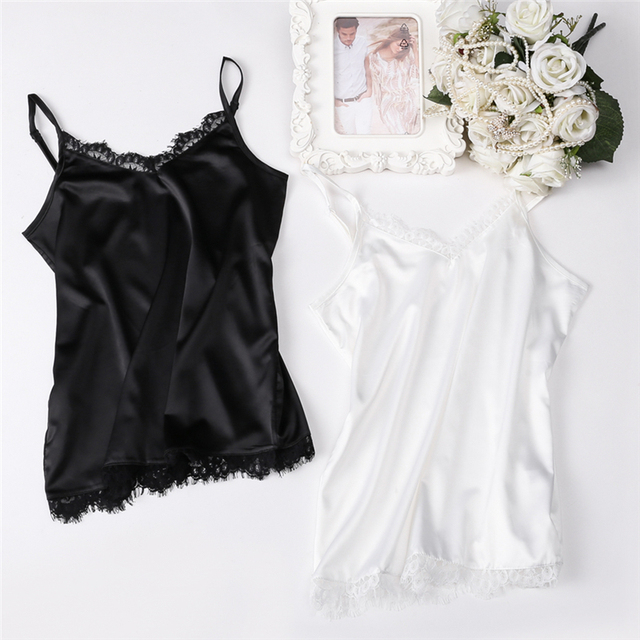 Summer Silk Tank Top 2019 Women Sexy V Neck Basic Tops Blusas Casual Womens Vest Lace