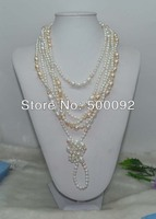 Genuine 60 long 5 8mm natural multicolor freshwater cultured pearl necklace free shipping