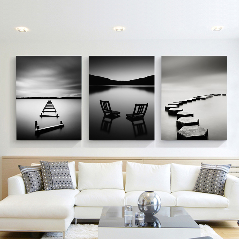 Black and White Landscape Canvas Painting Stone Wooden Bridge Posters and Prints Wall Art Pictures for Bedroom Decoration