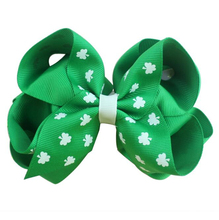 Adogirl 10pcs 5 Inch Saint Patricks Day Green Hair Bows with Clips Clover Print Handmade Boutique Accessories Headwear