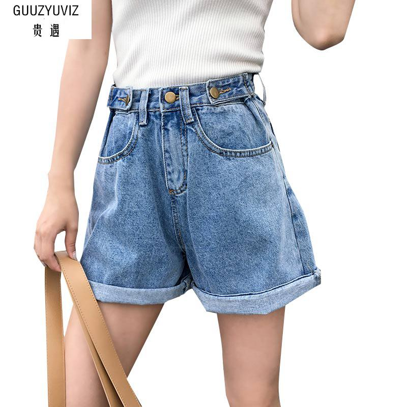 GUUZYUVIZ Plus Size Vintage Casual Button Cotton Washed High Waist Pants Boyfriend   Jeans   For Women