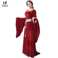 Rolecos Brand Medieval Renaissance Victorian Dresses Red Satin Ball Gowns For Ladies Masquerade Queen Costumes