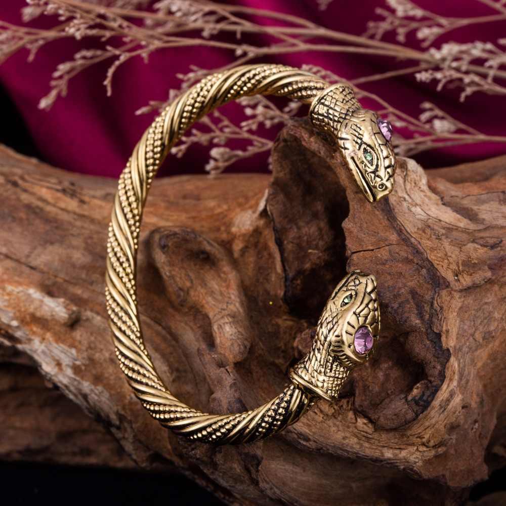 Skyrim Sexy Schlange Herz Armband mit Rosa/Blau Kristall Vintage Ägyptischen Schmuck Manschette Armreif Frauen Armbänder für valentinstag tag