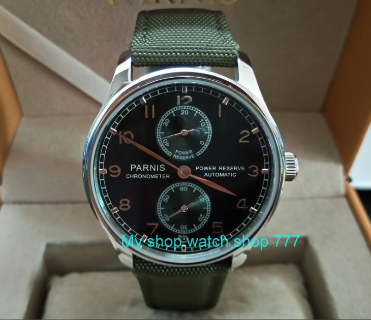 43mm PARNIS black dial ST25 Automatic Self-Wind movement men's watches power reserve Mechanical watches Fxdf196a