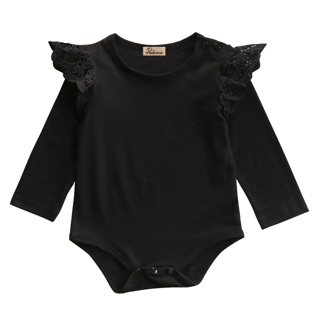 Cute Ruffles Baby Girl Bodysuits Newborn Baby Girls Lace Shoulder Bodysuit Jumpsuit Clothes Long Sleeve Pink Black Outfits 0-24M