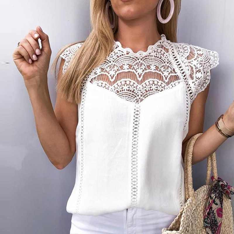 Lace Patchwork Womens Tops And Blouses 2019 Summer Sexy Sleeveless Solid Shirt Women Chiffon White Blouse Blusas Roupa Feminina