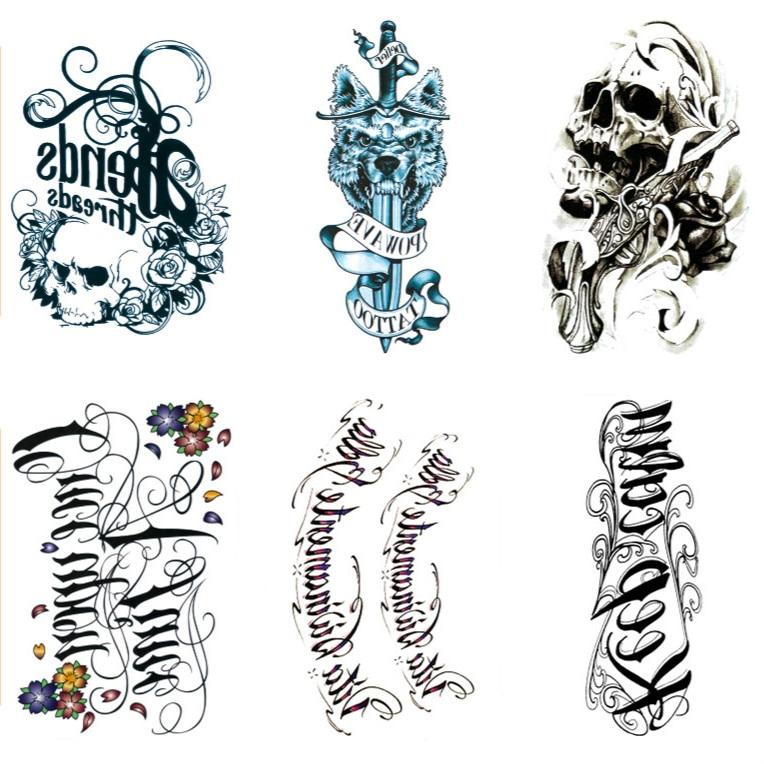 500pcs Variety Designs Terrorist Body Tattoo Violence Waterproof Temporary Tattoo Sticker Skeleton Letters Fake Tattoo Tatuajes