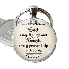 God Is My Refuge and Strengh Bible Glass Dome Quote Pendant Jewelry Verse Key Chain Keyring Religion Gift